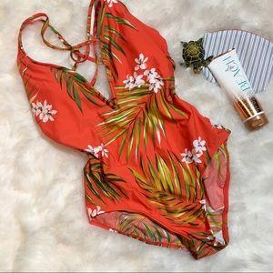 Kona Sol Orange Tropic One-piece Swimsuit